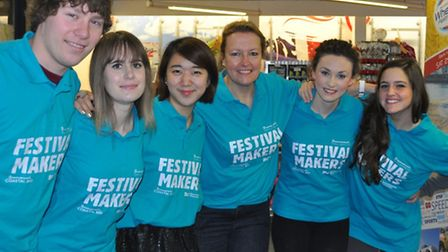 Bournemouth University students and Dr Debbie Sadd, Festival Maker Supporter (forth from left)
