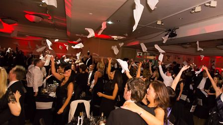 Napkins thrown in the air at the end of a rendition of Land of Hope and Glory