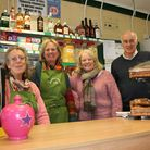 Tessa Pettingell, Mary Crane, Sue Williams and Fraser Hughes behind the counter at Broadwindsor Comm