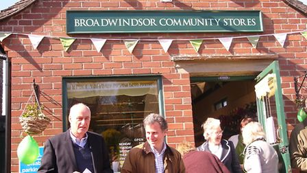 Fraser Hughes (left) with MP Oliver Letwin (right) at the Grand Opening of Broadwindsor Community Sh