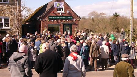Crowds of supporters turn out for the Grand Opening of Broadwindsor Community Shop