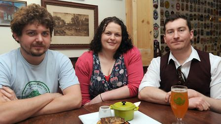 Beer and food feature at the Edwardstone White Horse and Mill Green Brewery. L-R: Tom Norton, Natash