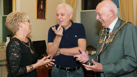 Dave Spikey shares a joke with the Mayor and Mayoress of Chorley, Coun. John Walker and wife, Marie