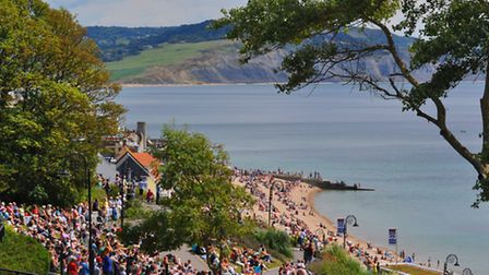 Crowds gather on the beach for the Lyme Regis Crab Festival