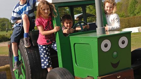 Children on board Tractor Ted