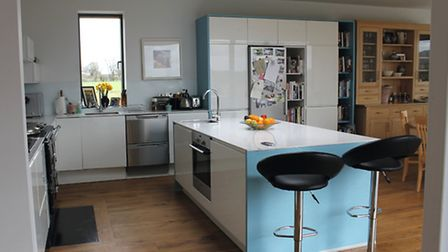 The kitchen and dining area in the property