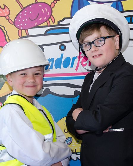 Alfie (age 6) and Louie (age 9) hvaing fun on board the Condor Express
