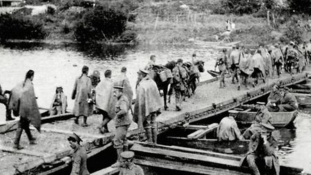 Pontoon bridges allowed soldiers and horses from the 20th Hussars to cross the River Marne.