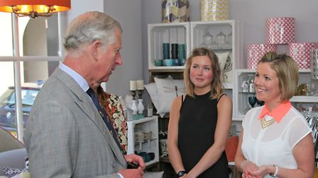 Prince Charles talks to CW interiors owner Cat White