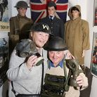 Derek and Ellen Mitchell with some artifacts which form a part of the WW1 Centenary exhibition at B