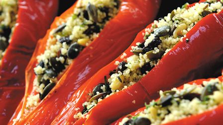 Roasted red peppers with cous cous