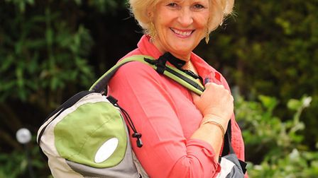 The contents of Gaye Youngman's bag when she visited Uganda. Gaye with her bag. Picture: Denise Brad