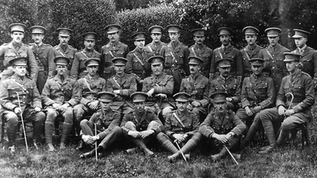 Destined for Gallipoli: the officers of the 5th Battalion in Watford in 1915 before heading overseas