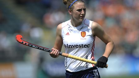 England's Lily Owsley against the USA during their opening game in the Rabobank Hockey World Cup, 20