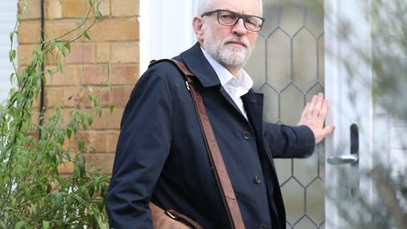 Labour Party leader Jeremy Corbyn leaves his home in Islington, north London. Photograph: Isabel Inf