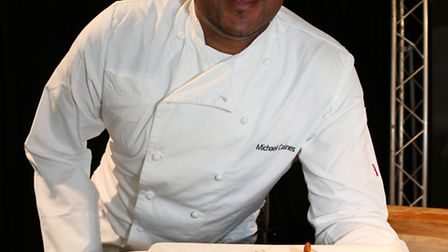 In the cookery theatre with Michael Caines