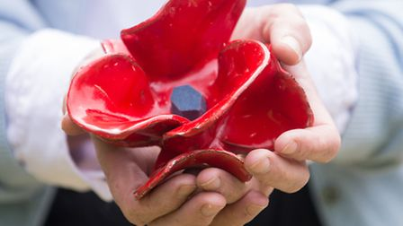 One of metal poppies to commemorate the centenary of the outbreak of the First World War