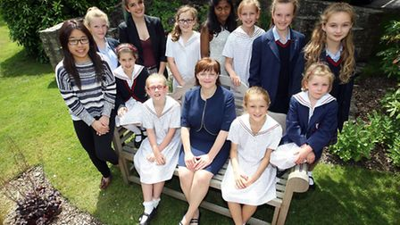 Talbot Heath headteacher Angharad Holloway with some of the pupils from the school. Image credit: Sa