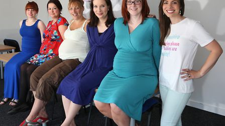 Rebecca Wright (right) and mums to be (from the left); Kirsty McCreath, Marianne Brown, Emma Nelso