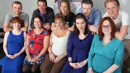 Mums to be and partners; Kirsty McCreath and Peter McCreath; Marianne Brown and Carl Brown; Emma