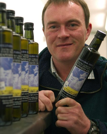 Picture of cold pressed extra virgin Rapeseed Oil produced by Hillfarm Oils in Heveningham by Sam Fa
