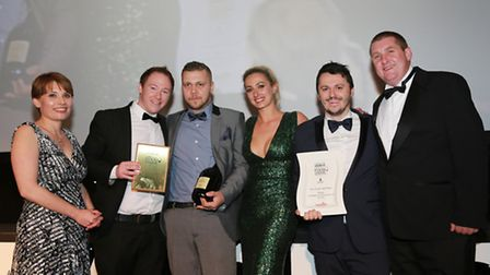 Lancashire Life Restaurant of the Year The Oyster and Otter; Award sponsor Jason Jolley (right)
