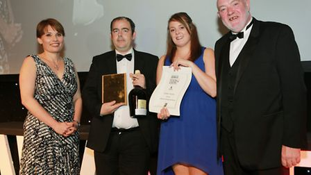 Lakeland Dining Excellence Rothay Garden Hotel; Adrian Kneenshaw and Hannah Fearnhead collect thei