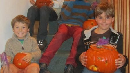 Children at Kingcombe with their pumpkins © Sally Welbourne