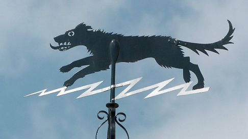 Black Shuck weather vane in Bungay. Photo: Bill Darnell Copy: Jon Welch For: EDP features Archan