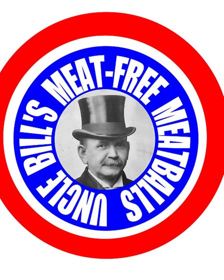 The distinctive red, white and blue roundel used to promote Uncle Bills Meat-Free Meatballs