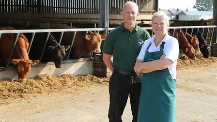 Taylor's Farm Shop owners, Roger and Bernie Webster and some of their Limousin cattle