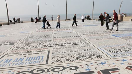 The Comedy Carpet opposite Blackpool Tower