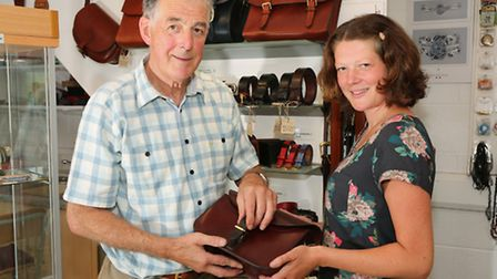 Heather Scott and father, Peter and his leather goods