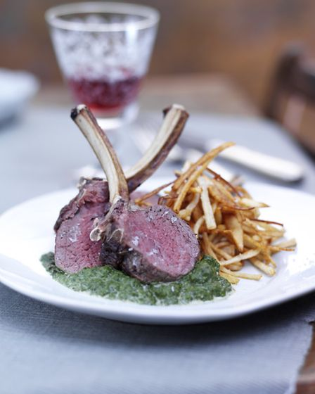 Grilled venison chops with creamed spinach and straw potatoes