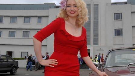50s Singer, Bexi Owen, from Morecambe, outside the Midland Hotel, Morecambe