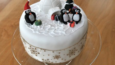 Mary KempChristmas cake with the help of Hannah Rowberry of Honeysuckle Cakes, Norwich