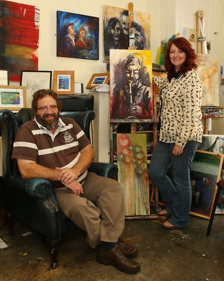 Keith Parkinson and Beverley Chapelhow at Ribble Valley Art Studios