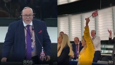 Brexit Party MEPs demand their flags are allowed on their empty desks. Photograph: European Parliame