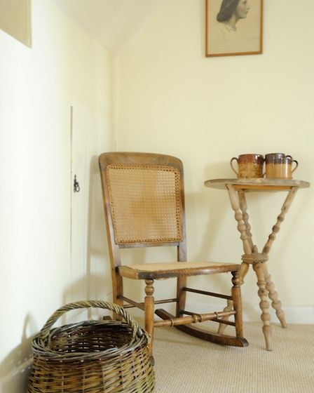 Willow basket woven by Hilary Burns alongside a cane chair restored by Fenella © Peter Booton Photog