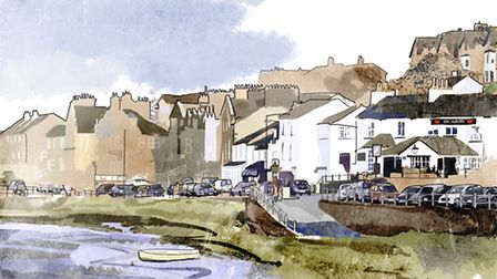 Arnside Prom, is by Lancashire Life artist Nick Oliver. See more of his work at www.smilecreative.co
