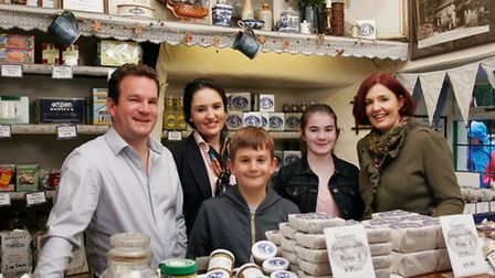 Andrew and Joanne Hunter in the shop with their children