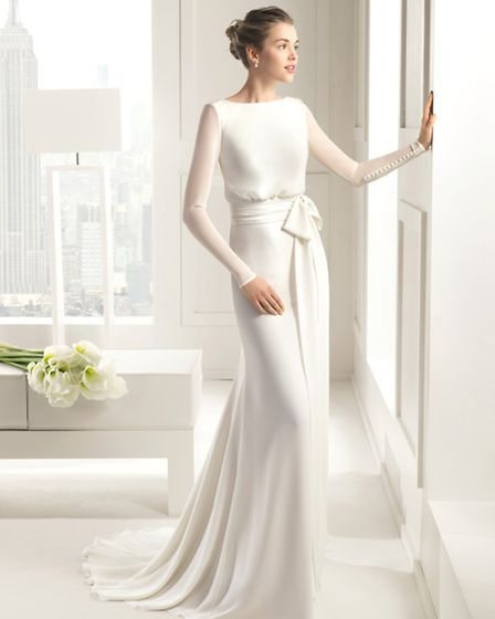 The simplicity and clean lines of this design by Rosa Clara is perfect for brides who love a more cl