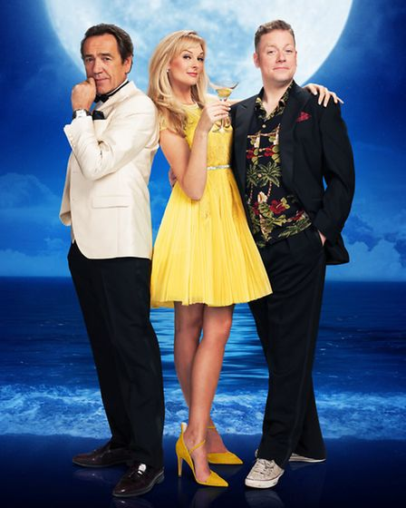 Robert Lindsay, with co-stars Katherine Kingsley and Rufus Hound, in Dirty Rotten Scoundrels at Manc