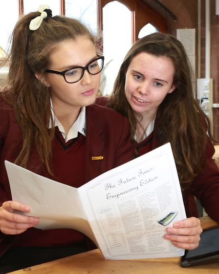 Francesca Chuck and Emma Jackson read theirThe Future Times newspaper