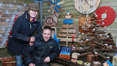 Stan Healey pictured here with partner, Andra Hickisch and some of their wooden products