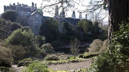 Sizergh Castle forms a backdrop to the Rock Garden