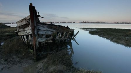 Boat wreckage on Wallasea Island by Andy Hay rspbimages