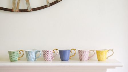Fit for a Mad Hatters tea party these quirky cups are by Dorset ceramic artist Miranda Berrow. Cappu