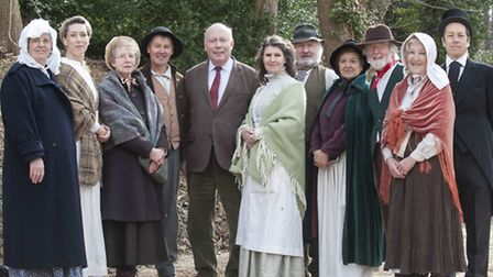 Lord Fellowes with the New Hardy Players at the opening of the Hardy Birthplace Visitor Centre.