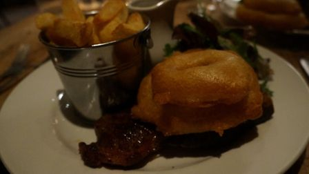 The steak was lovely and tender and was served with a blue cheese sauce